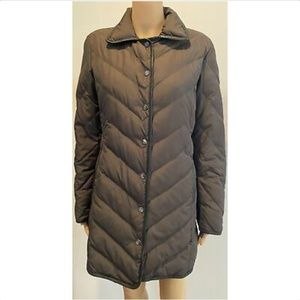 MISSONI brown quilted down coat w/ leather trim